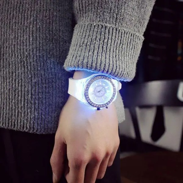 FREE SHIPPING led Flash Luminous Watch Personality trends students lovers jellies woman men's watches 7 color light WristWatch discount