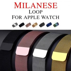 FREE SHIPPING Milanese Loop Band for Apple watch 42mm 38mm Link Bracelet Strap Magnetic adjustable buckle with adapter for iwatch Series 4321 [tag]