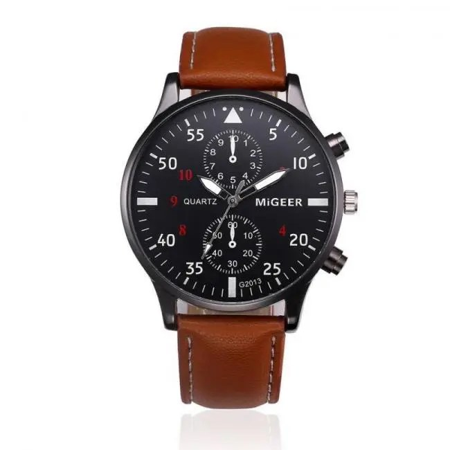 e95aa1fd114 Military Business Watches Men Brand Luxury Sport Relogio Masculino Brand  Luxury Leather Band Quartz Wrist Watch Drop Shipping