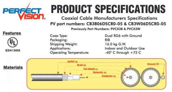 Coaxial Coax RG6 Solid Copper, Dual, CCS Ground – 500 Ft DTV Black or White [tag]