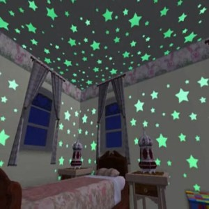 FREE SHIPPING 100pcs Luminous Wall Stickers Glow In The Dark Stars Sticker Decals for Kids Baby rooms Colorful Fluorescent Stickers Home decor Free shipping