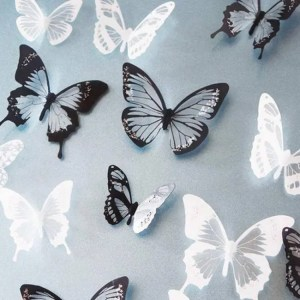 FREE SHIPPING 18pcs/lot 3d Effect Crystal Butterflies Wall Sticker Beautiful Butterfly for Kids Room Wall Decals Home Decoration On the Wall Free shipping
