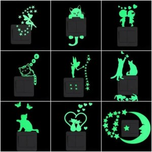 FREE SHIPPING Cartoon Luminous Switch Sticker Glow in the Dark Wall Stickers Home Decor Kids Room Decoration Sticker Decal Cat Fairy Moon Star free