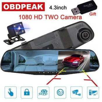 FREE SHIPPING 4.3 inch 1080P car rearview mirror Car Dvr full HD 1080p car driving video recorder camera car reverse image dual lens dash cam [tag]