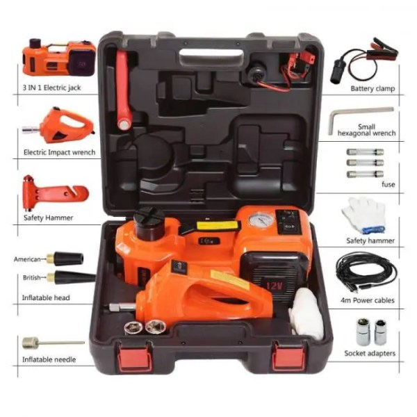 Accessories Emergency Car Kit – Electric Jack Hydraulic Air compressor Impact Wrench Tire Gauge Air