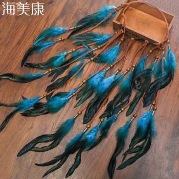 FREE SHIPPING 2019 Feather Hair Band Bohemian Blue Elastic Gypsy Festival Headband Women's Fashion 2019