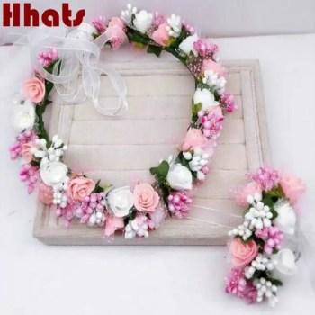 FREE SHIPPING Handmade Festival Ribbon Flower Hair Accessories Artificial Floral Women Headband Crown Wedding Sets Accessories