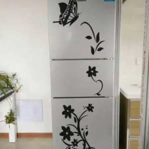 FREE SHIPPING High Quality Creative Refrigerator Black Sticker Butterfly Pattern Wall Stickers Home Decoration Kitchen Wall Art Mural free