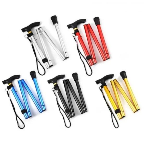 FREE SHIPPING Adjustable Aluminum Folding Walking Stick Travel Cane with Non-slip Base Adjustable