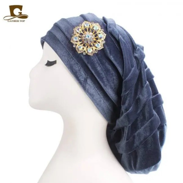 FREE SHIPPING New Pleated Velvet Turban With Metal Brooch Long Women Baggy Cap Hijab Headwrap Pleated