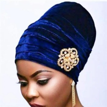 FREE SHIPPING New Pleated Velvet Turban With Metal Brooch Long Women Baggy Cap Hijab Headwrap Baggy