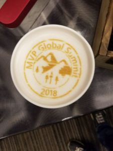 Chai Latte with the MVP Global Summit 2018 logo in the foam!