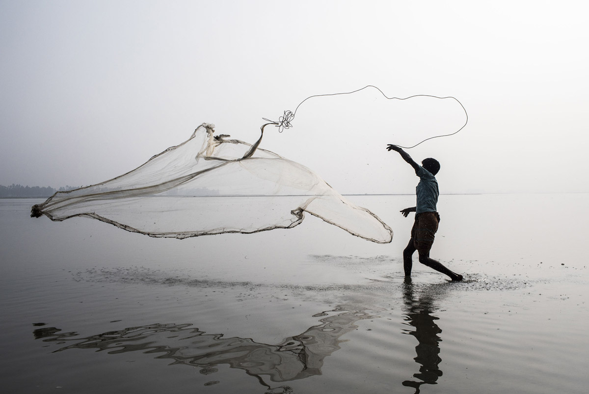 A fisherman fishes in the river Tista in Panjarbhanga, Bangladesh. Between 2011 and 2016, FAO worked with farmer organizations and government departments in Bangladesh to improve the design and management of agricultural investments. These technical and capacity building activities formed part of the Integrated Agricultural Productivity Project (IAPP), funded by the Global Agriculture and Food Security Program (GAFSP). Photo Credit: © FAO/Mohammad Rakibul Hasan.