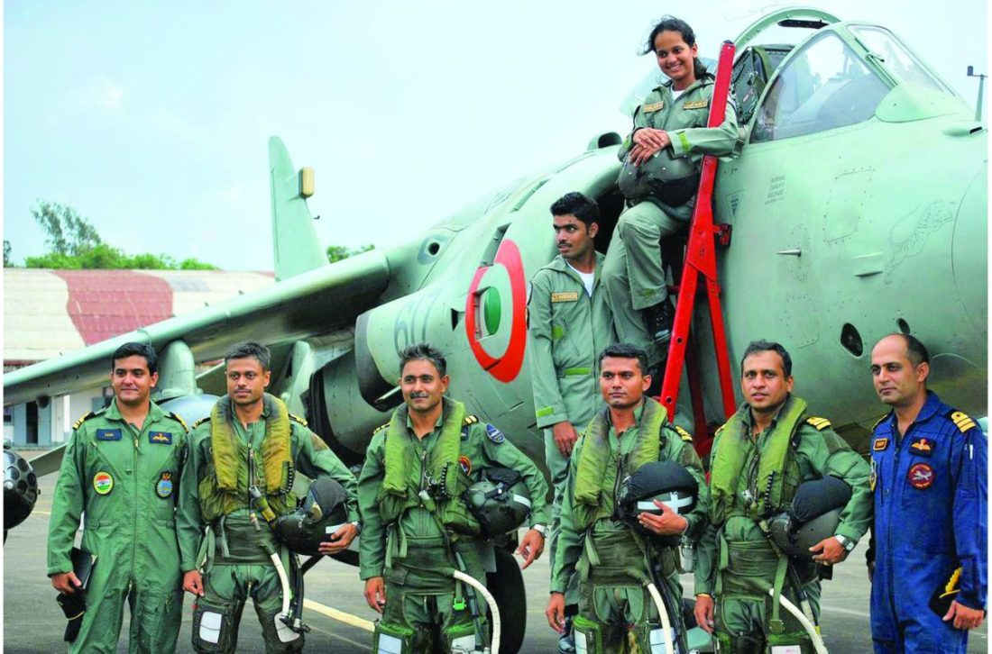 "Malaika with naval top guns, during her ""Aviator for a day"" TV programme"
