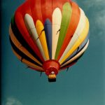 Hot-air balloons are bags made of fabric that are filled with hot air