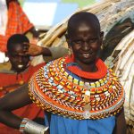 Traditionally, Masai tribe wore capes made from calf hides and sheepskin decorated with glass beads