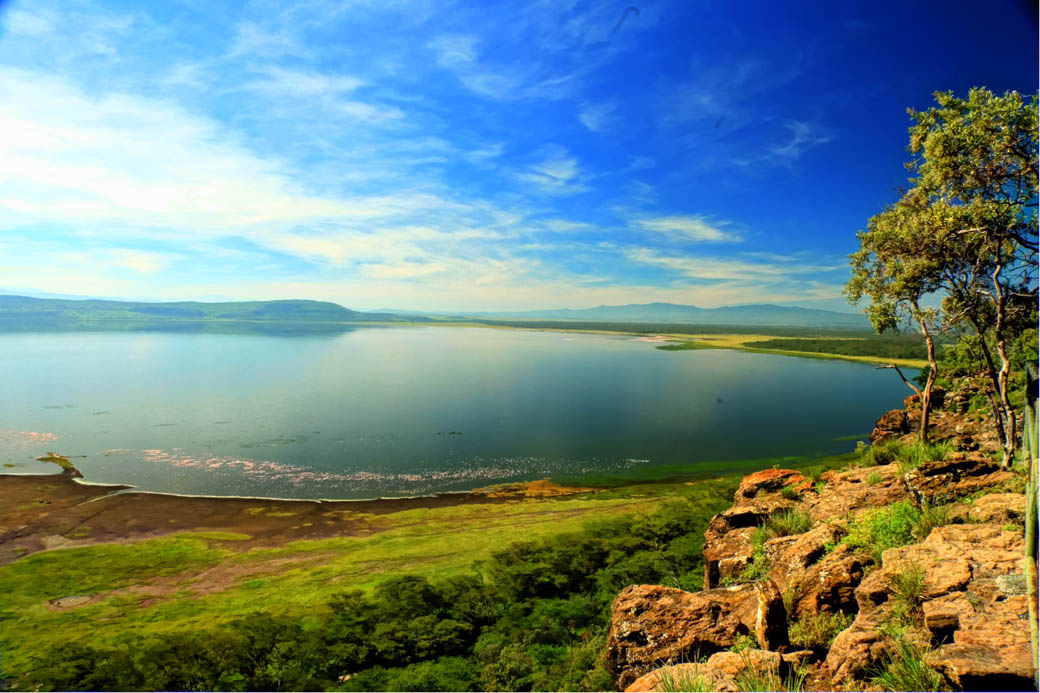 Panoramic view of Lake Nakuru from Baboon cliff