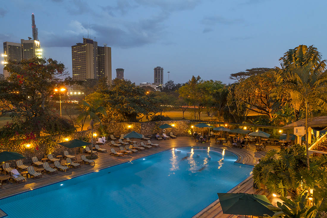 Nairobi Serena Hotel_Pool area at dusk