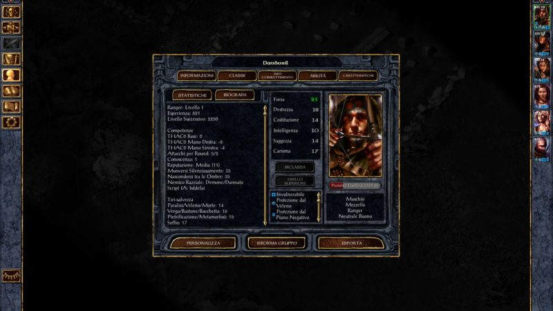 Baldur's Gate Screenshot Personaggio