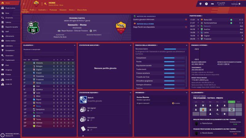 La schermata principale di Football Manager 2019