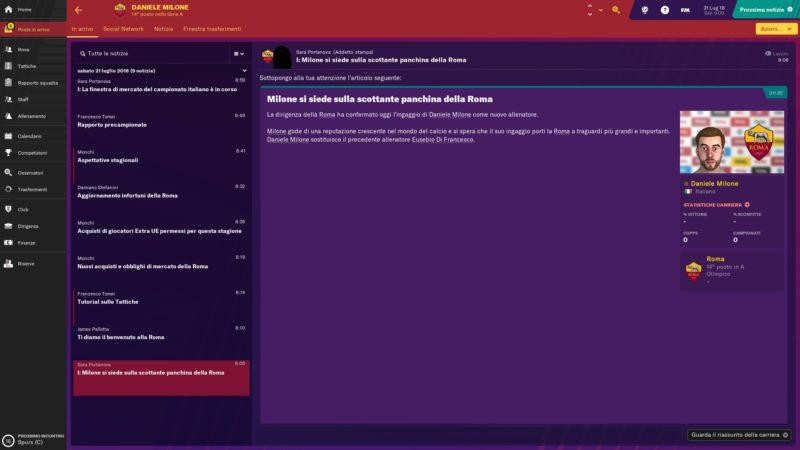 La schermata principale di Football Manager 2019 Touch