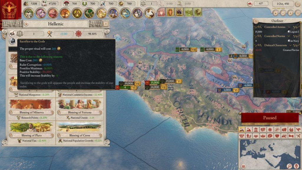 Imperator Rome sacrificio agli dei