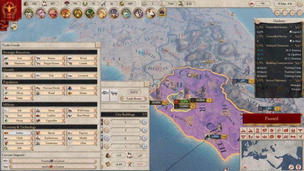 Le rotte commerciali vi garantiranno entrate costanti in Imperator Rome