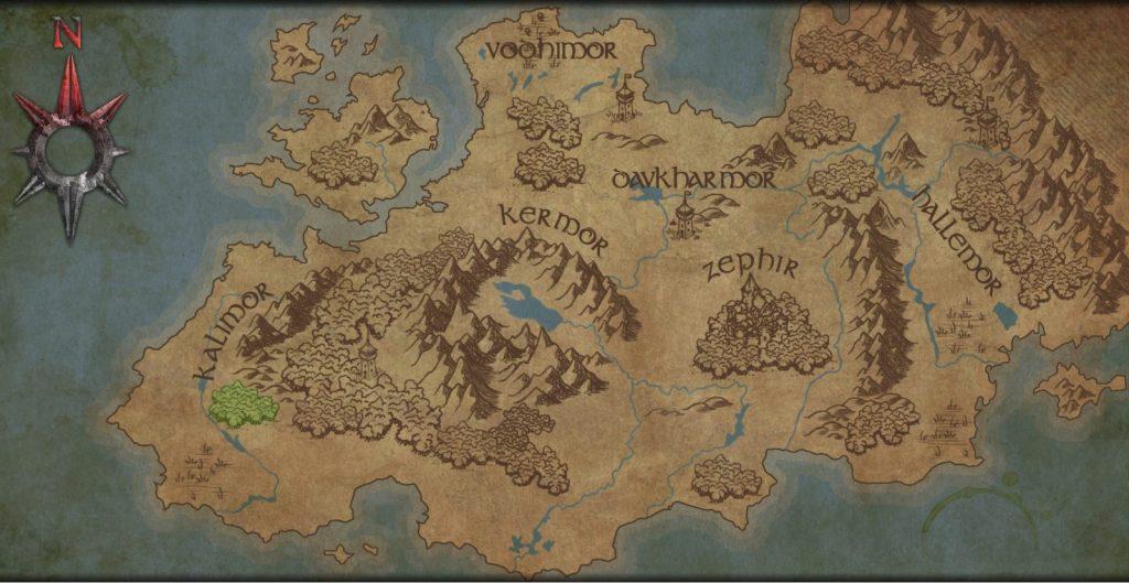 La mappa della campagna di Arcane Legacy