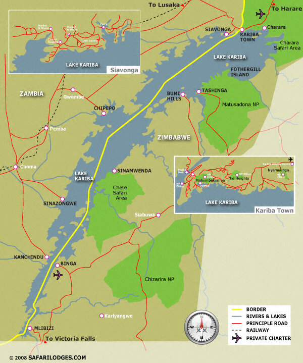 plan map of Lk Kariba, adjacent National Parks, towns, roads and national borders.