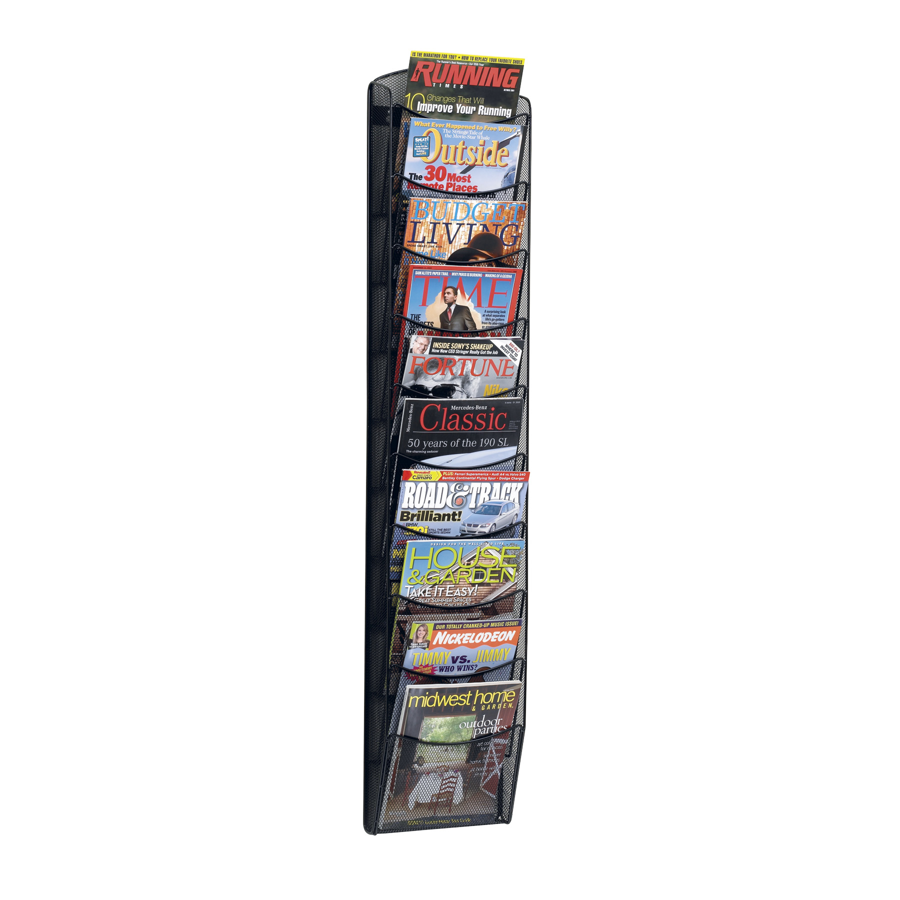 10 pocket onyx magazine rack safco