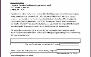 Manitoba - Food Safety Course Approval - A