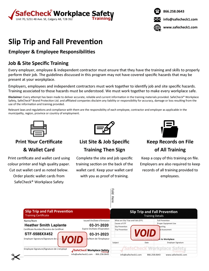 Slip Trip Fall Prevention Wallet Card