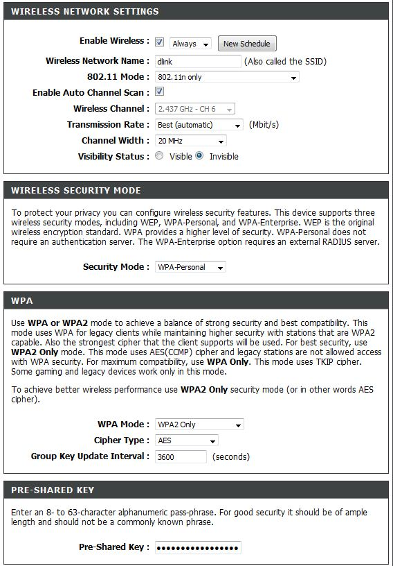 Dlink Wireless Security Settings