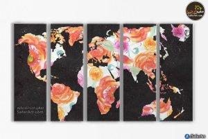 لوحات خريطه العالم بالورد