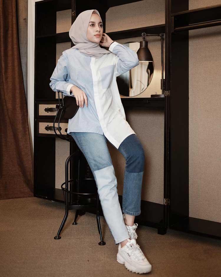 gaya kondangan pake jeans wanita
