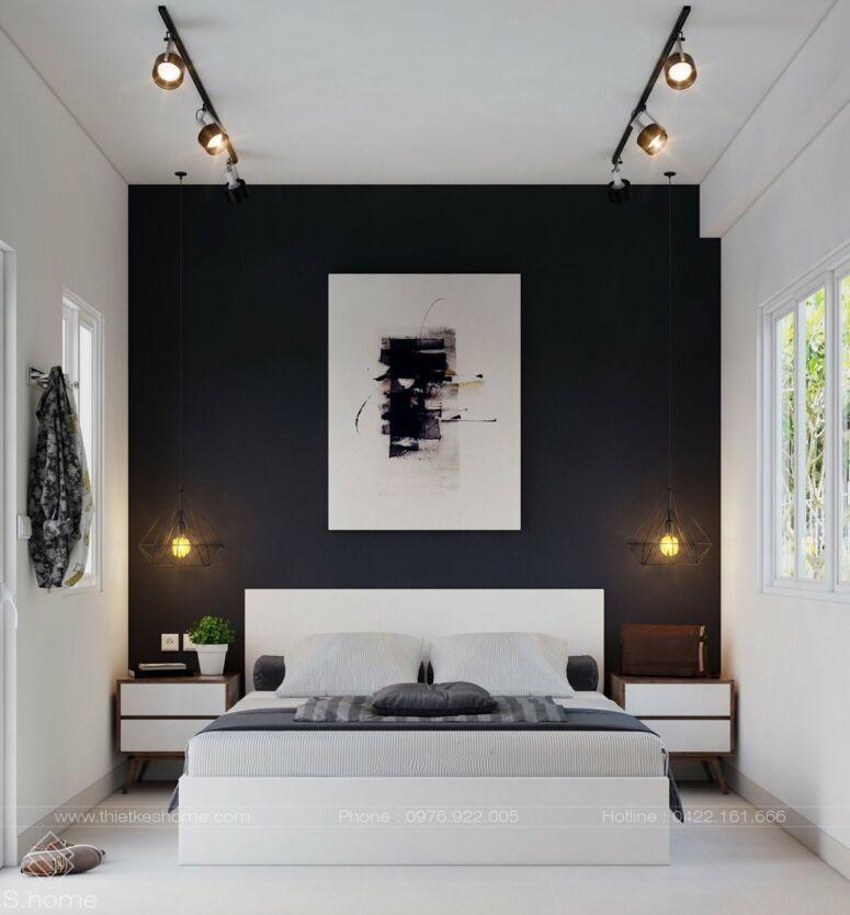 kamar tidur pria diberikan Sentuhan Black and White