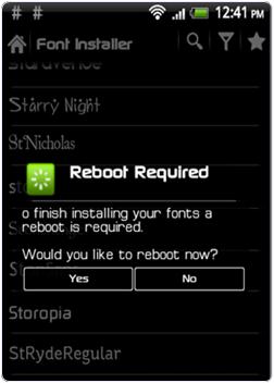 Font Installer change font reboot