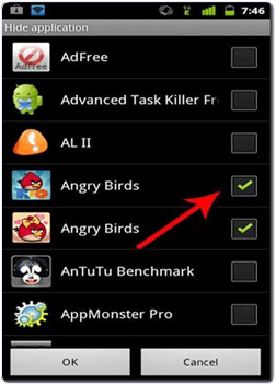 Android GO Launcher Ex hide app option