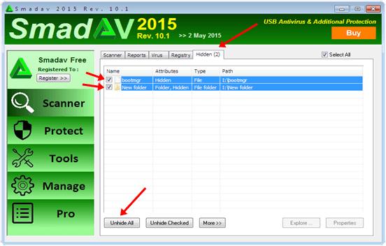 sandev antivirus hidden files detected