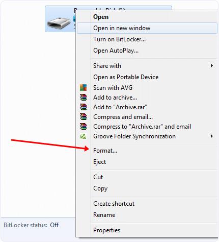 format pendrive option