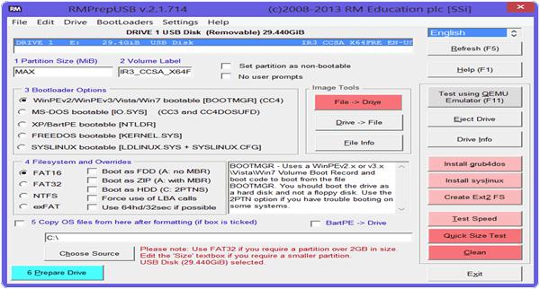 RMPrepUSB PC Software