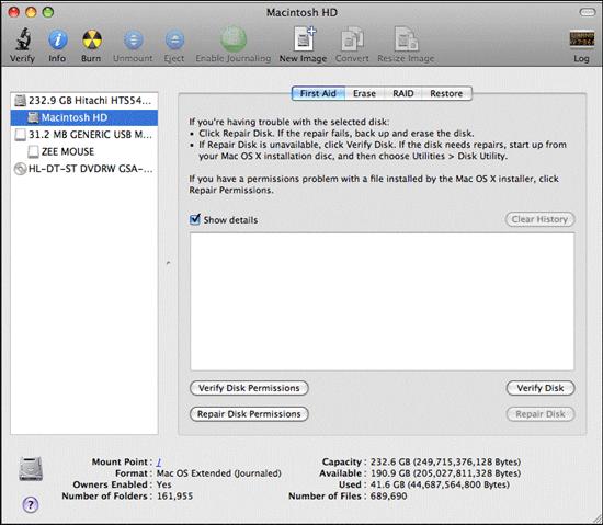 Repair Permission of drive in Mac OS