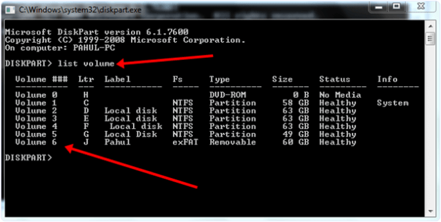 Windows cmd diskpart option