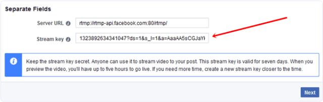 facebook video live stream key