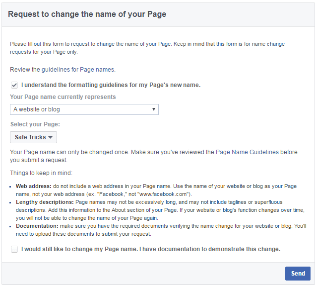 change name facebook page request form
