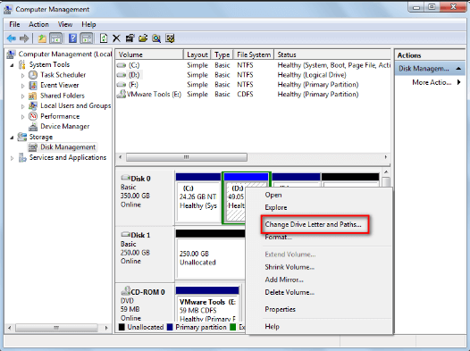hide drive by disk management