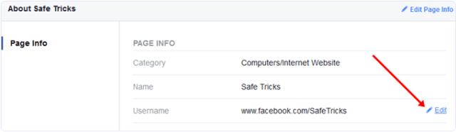 change username option on facebook page