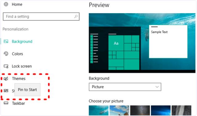windows pin to start