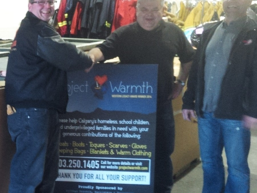 Project Warmth givehopeyyc Safety Boss donates to the homeless