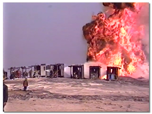line of bunkers at a well control during the kuwait gulf war